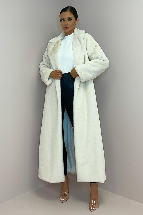 KAITLYN Cream Soft Faux Fur Longline Coat