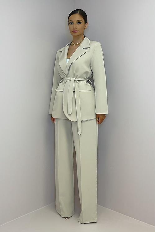 ROSIE Light Beige Wide Leg Trouser Suit