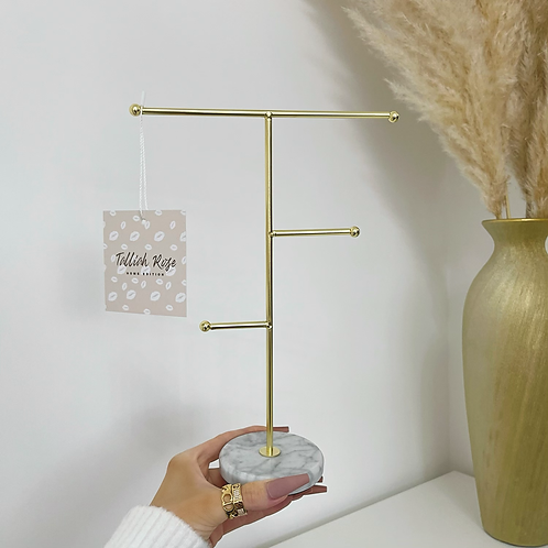Gold & Marble T-Bar Jewelry Stand