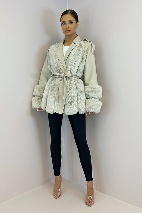 BESSIE Beige Faux Leather/Fur Belted Jacket
