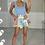 Thumbnail: REESE Blue Square Neck Knit Bodysuit