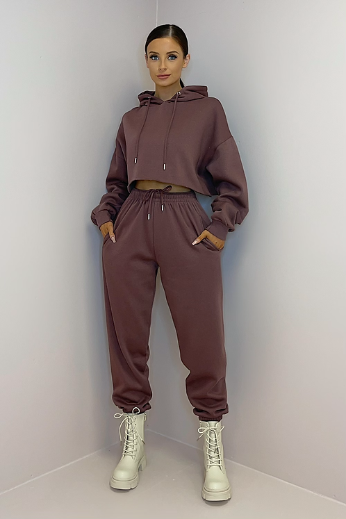 PAIGE Plum/Coco Oversized Cropped Tracksuit