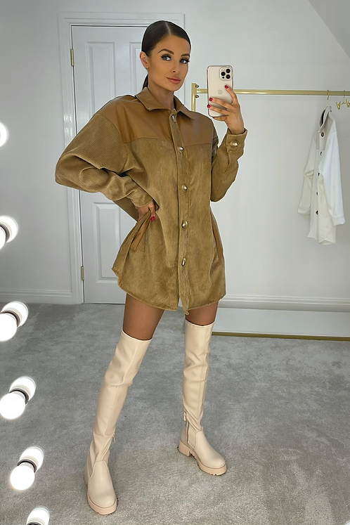 ORLA Camel Thick Cord Shirt Dress