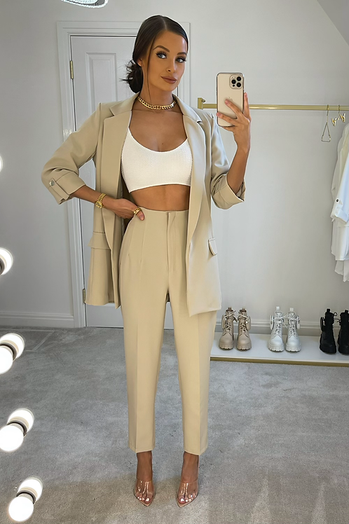 ELIZABETH Beige Structured Pant Suit (SALE)