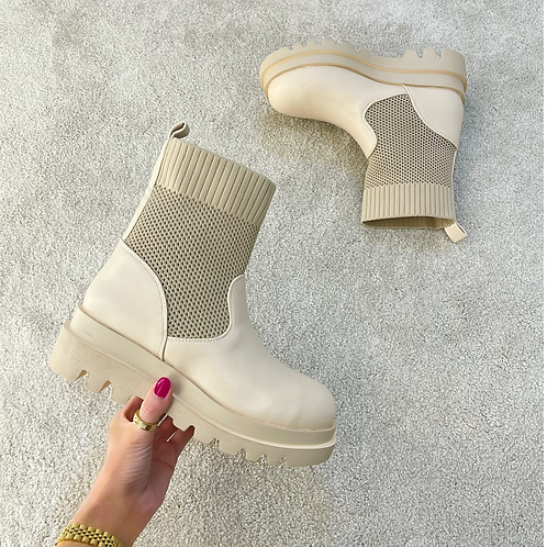 NANCY Beige Chunky Ankle Boots (SALE)