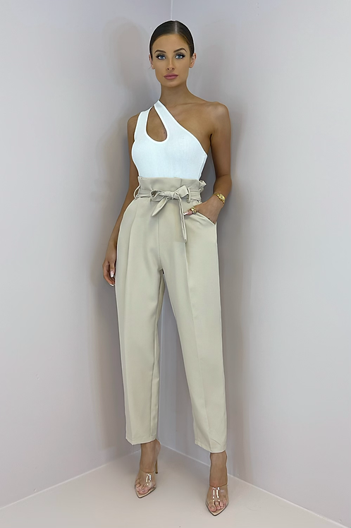 EVELYN Beige Paperbag Belted Trousers