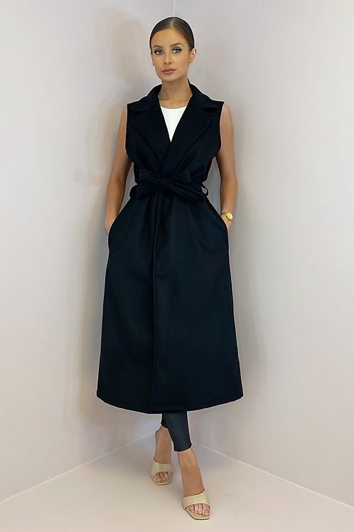 CLAIRE Black Felt Longline Sleeveless Jacket