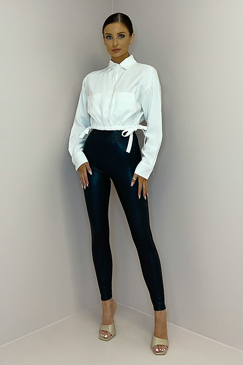 SIAN White Tie Side Cropped Shirt
