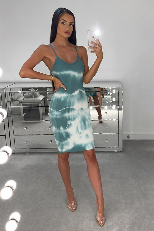 LACEY Green Acid Wash Bodycon Dress (SALE)