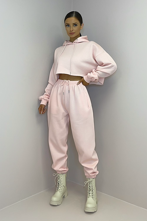 PAIGE Pink Oversized Cropped Tracksuit