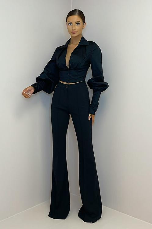 PAMELA Black Tailored Bell Bottom Trousers