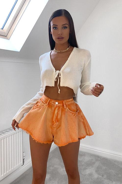 CASEY Orange Floaty Denim Shorts (SALE)