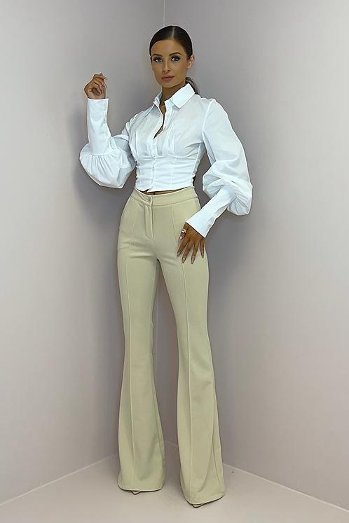PAMELA Beige Tailored Bell Bottom Trousers