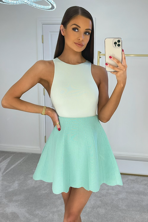 AVRIL Mint Slinky Double Fabric Bodysuit
