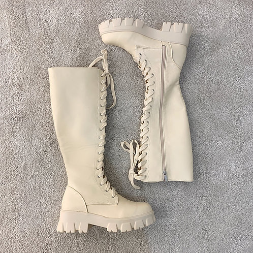 GEORGIA Beige Under Knee Lace Up Chunky Boots (SALE)