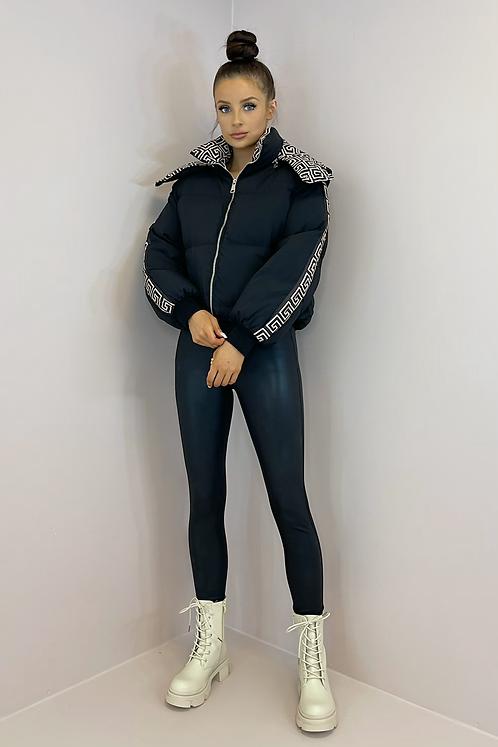 KIA Black Aztec Hooded Puffer Jacket