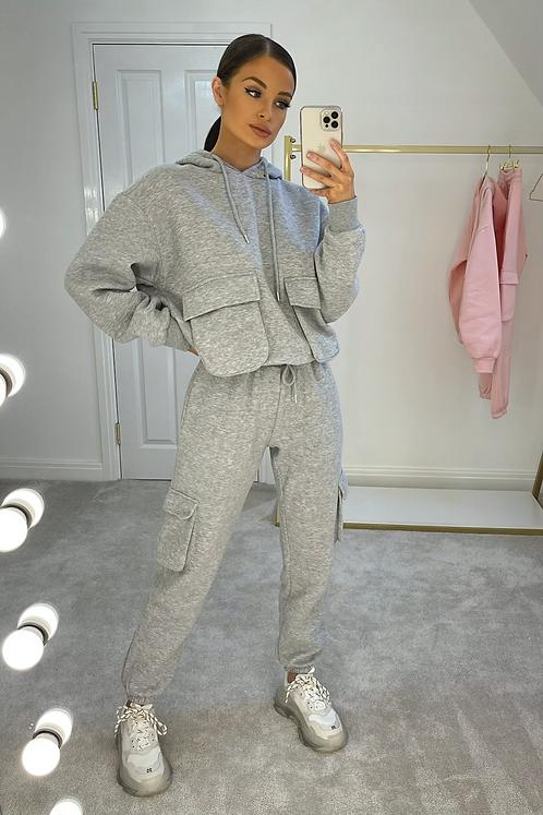 ELSIE Grey Oversized Pocket Tracksuit Set