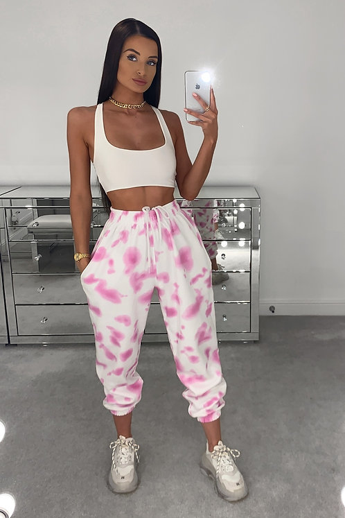 APRIL Pink High Waisted Tie Dye Joggers (SALE)