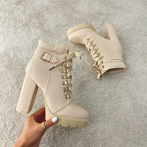 ADA Beige Lace Up Heeled Ankle Boots