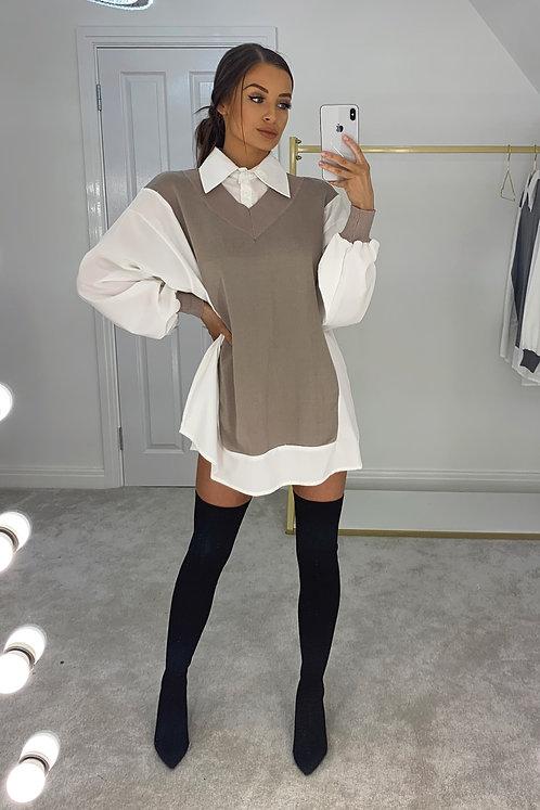 CORA Beige Knit Jumper Collared Shirt (SALE)