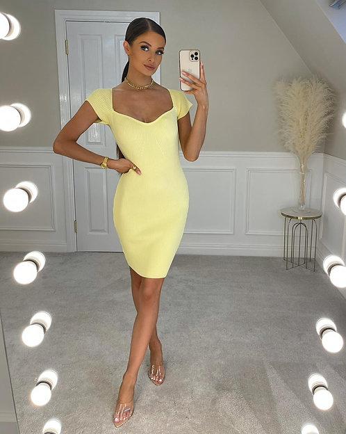 BROOKE Lemon Thick Ribbed Knit Midi Dress (SALE)