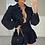 Thumbnail: ILIANA Black Oversized Collar Gold Button Shirt (Bag Included)