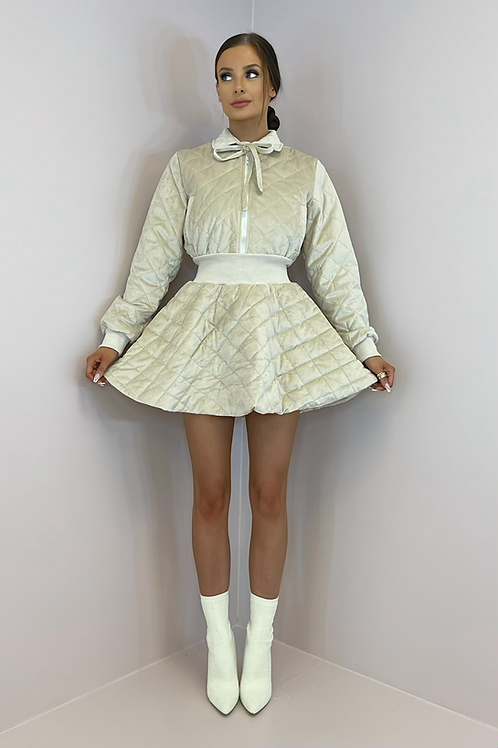 IZZY Beige Soft Quilted Skirt Co Ord