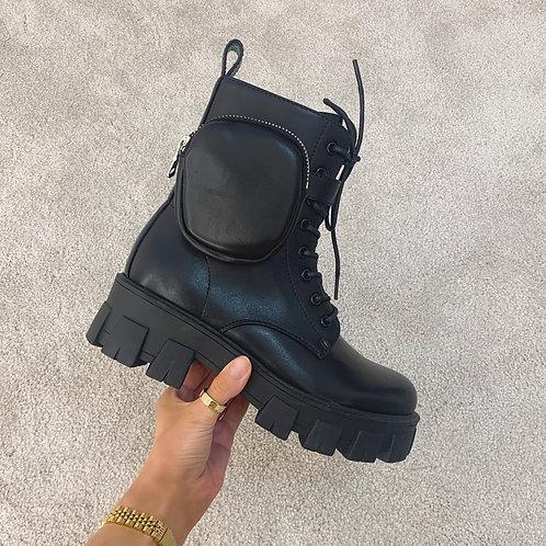 HARPER Black Chunky Pocket Ankle Boots