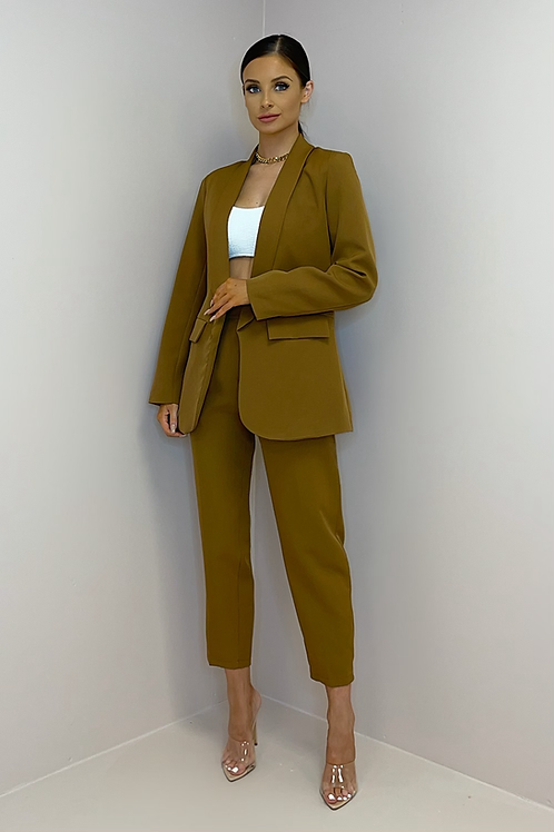 SIENNA Brown Fitted Trouser Suit
