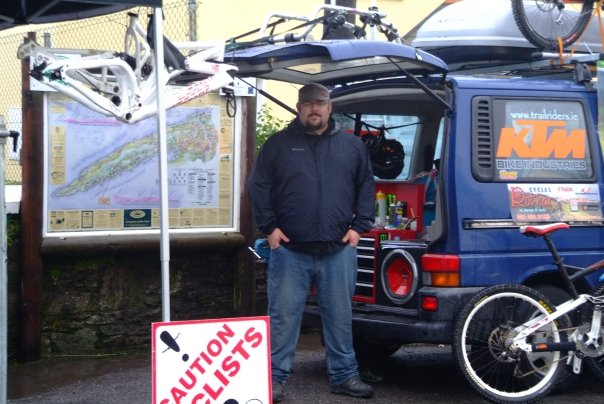 Services and repairs mountain bikes