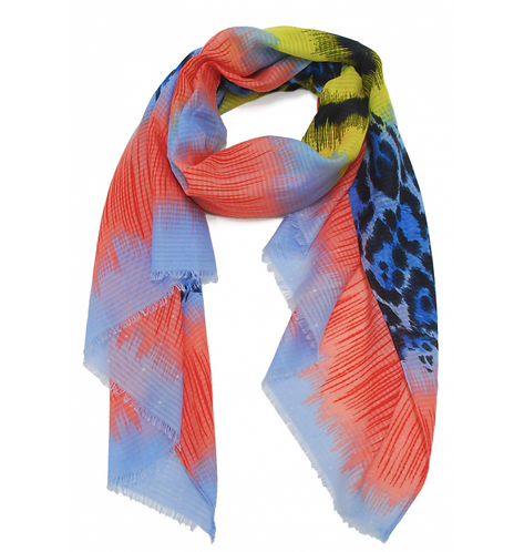 Scarf Coral/Yellow/Blue