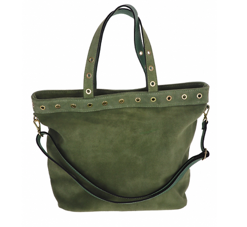 Suede Handbag Military Green