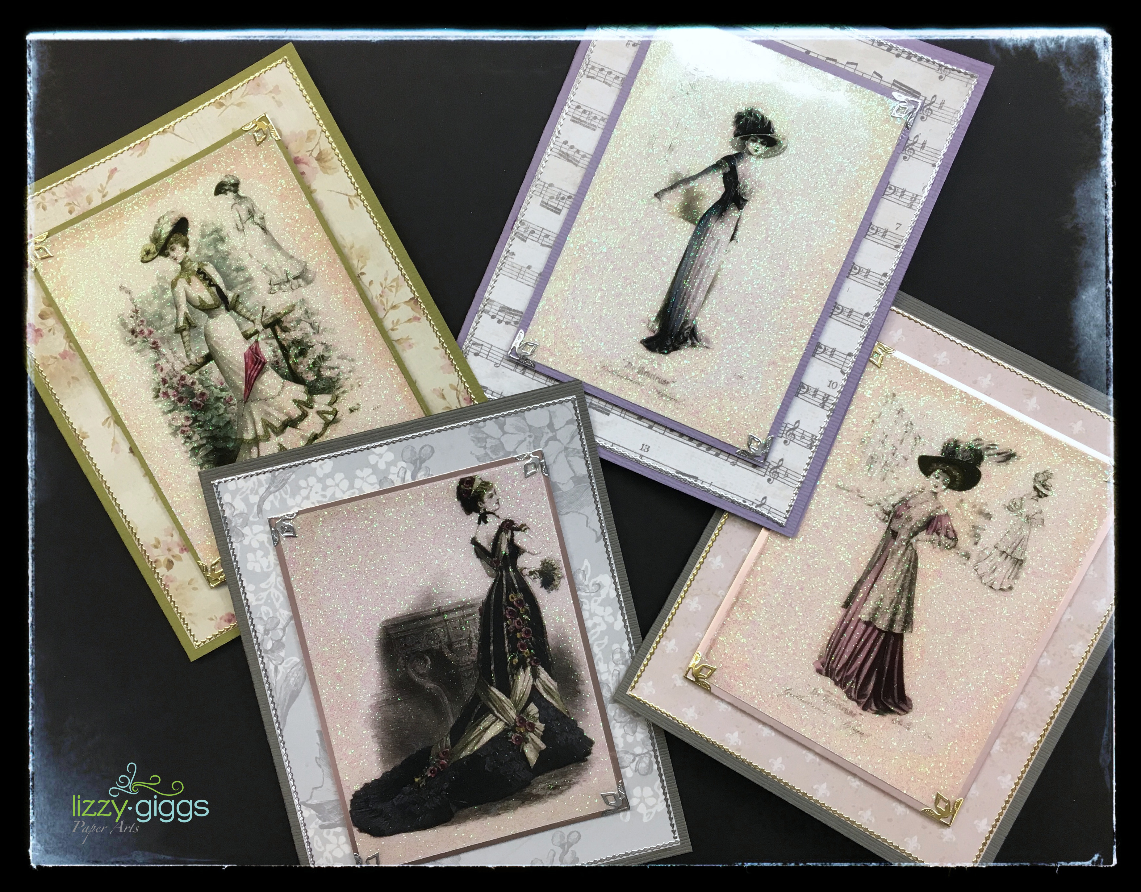 Victorian Ladies 4 Cards fb