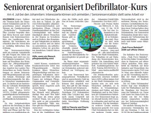Seniorenrat organisiert Defibrillator-Kurs