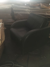 2x Bottle green leather armchair