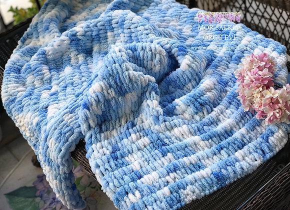 Mavi Ebruli Bebek Battaniyesi