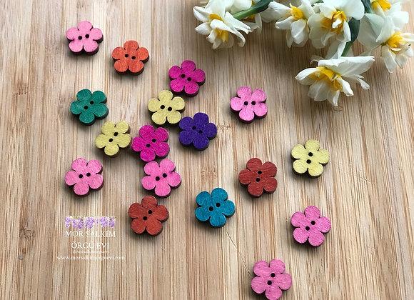 Ahşap renkli çiçek düğme 5 adet