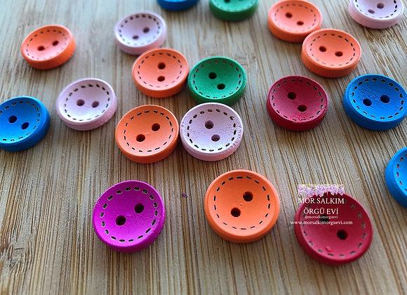 Renkli Ahşap Düğme (5 adet)