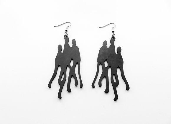 Shambahers, boucles 'Petit peuple trio', édition limitée en caoutchouc. Groupe de trois fines silhouettes noires imbriquées.