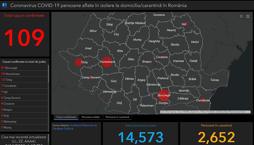 Harta actualizată zilnic cu cazuri covid-19