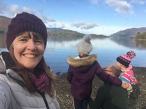 Julie in the Lakes with girls & Mark.JPG