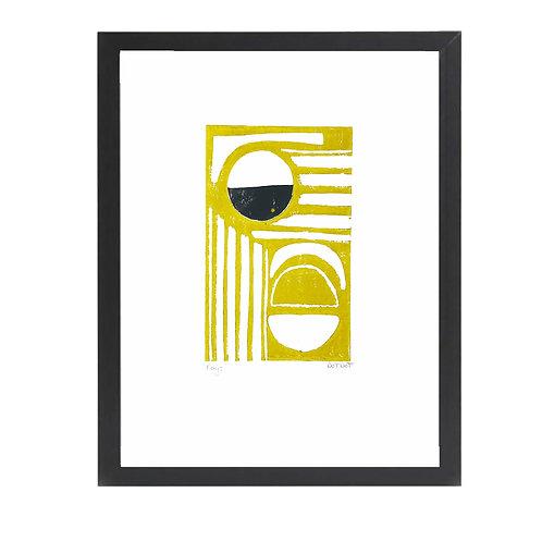 'Rays' A4 Mustard and Black Lino Print