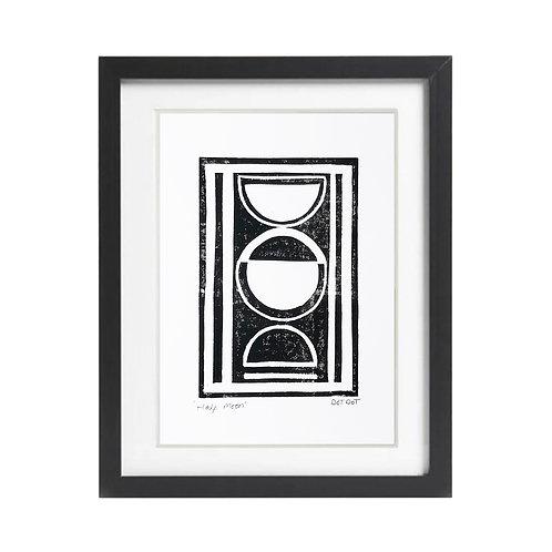 'Half Moon' A5 Lino print