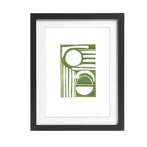 Rays A4 Green Lino Print