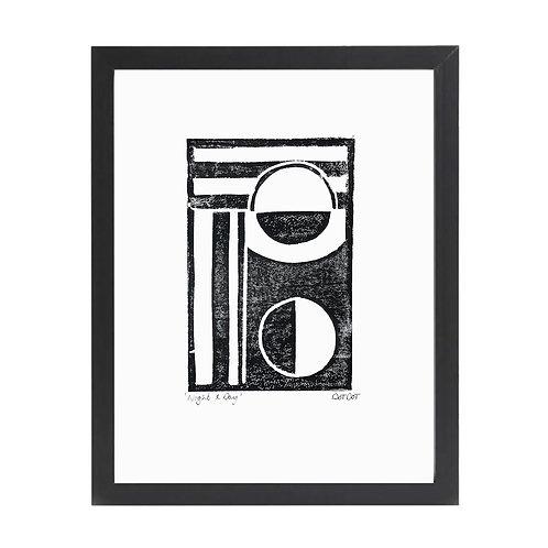 'Knight & Day' A4 Monochrome Lino Print