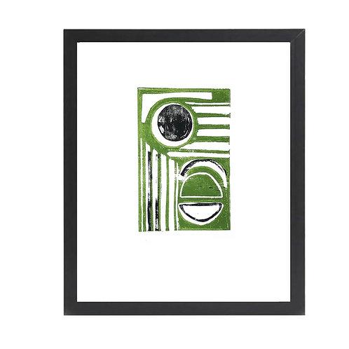 'Rays' A4 Green & Black Lino Print