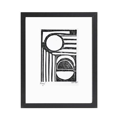 'Rays' A4 Monochrome Lino Print