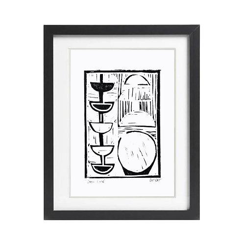 'Semi Line' A5 Lino print