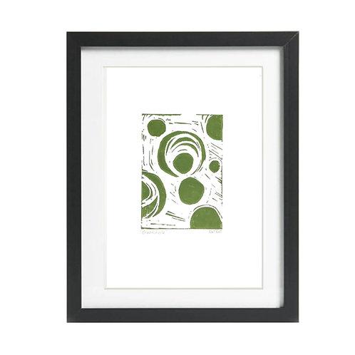 Blackhole A4  Lino Print in Green