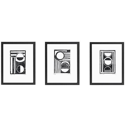 Set of 3 A4 Monochrome Lino prints